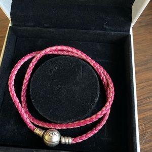 Used Pandora bracelet pink leather